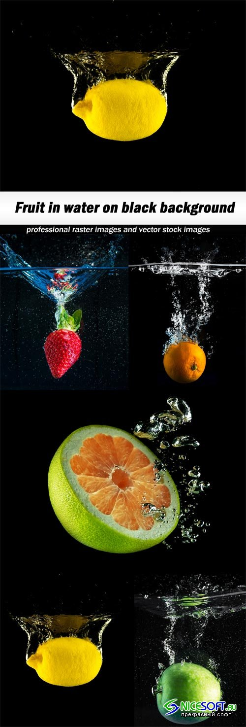 Fruit in water on black background-5xJPEGs