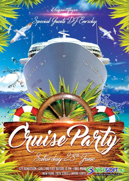 Cruise Party V01 Flyer PSD Template + Facebook Cover