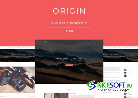 Origin - One Page Portfolio Template - Creativemarket 507633