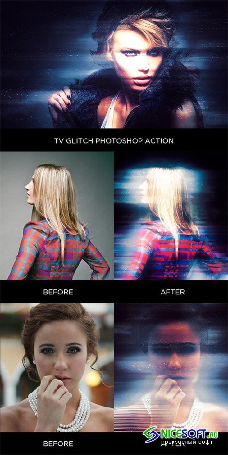 TV Glitch Photoshop Action - Creativemarket 579094