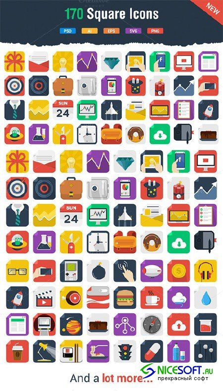 170 Awesome Flat Icons - Creativemarket 21599