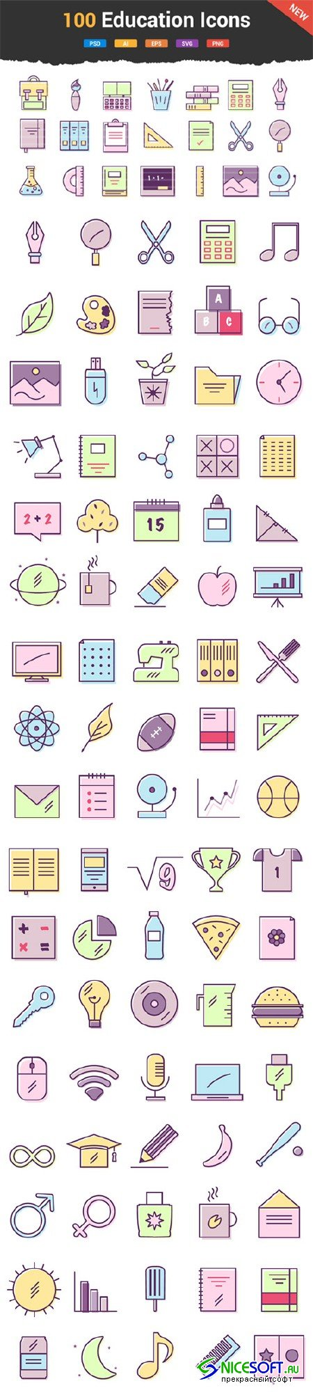 100 Education & School Icons - Creativemarket 604126