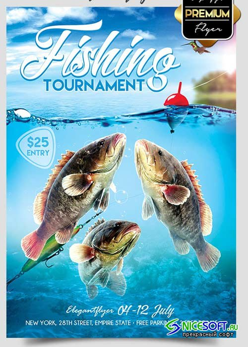 Fishing Tournament Flyer V1 PSD Template + Facebook Cover