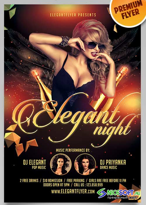 Elegant Flyer Night V1 Flyer PSD Template + Facebook Cover