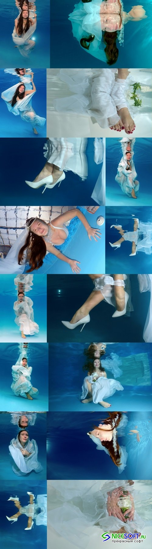 Bride's hands and feet, flowers, underwater wedding in pool