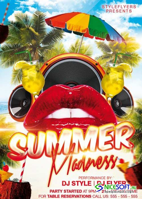 Summer Madness Party V1 PSD Flyer Template