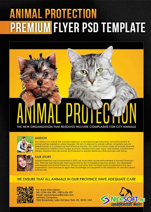 Animal Protection Flyer V1 PSD Template + Facebook Cover