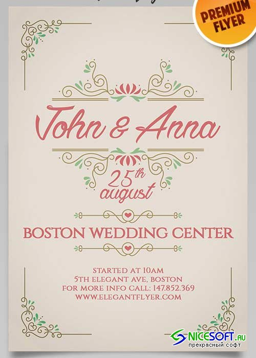 Vintage Wedding Invitation Flyer PSD Template + Facebook Cover