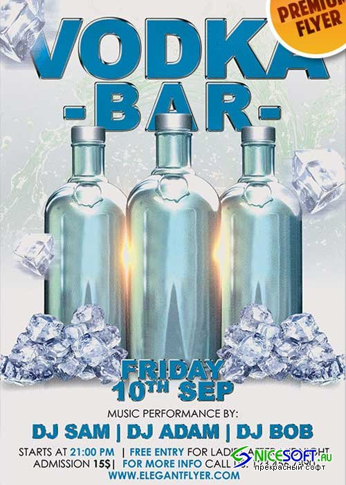 Vodka Bar V1 Flyer PSD Template + Facebook Cover