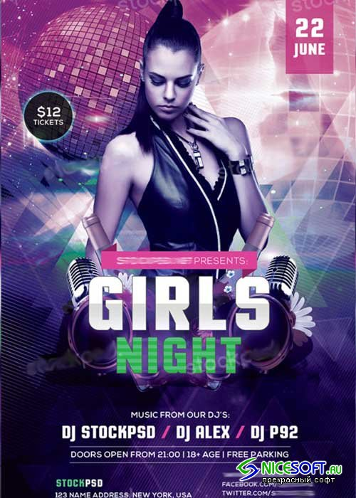Girls Night Party V11 PSD Flyer Template