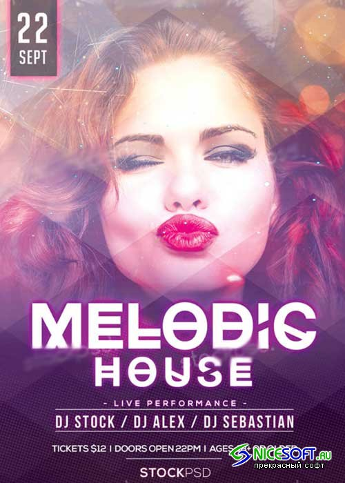 Melodic House V1 Party PSD Flyer Template