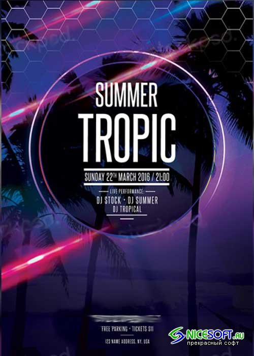 Summer Tropic V5 PSD Flyer