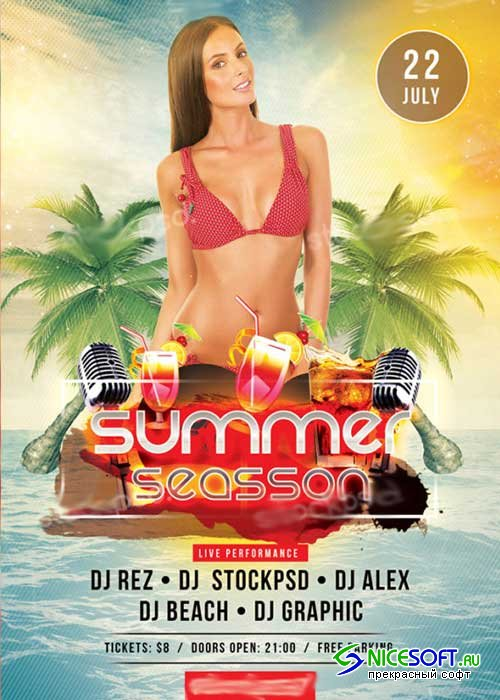 Summer Season V7 PSD Free Flyer Template