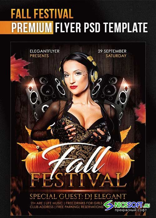 Fall Festival V5 Flyer PSD Template + Facebook Cover
