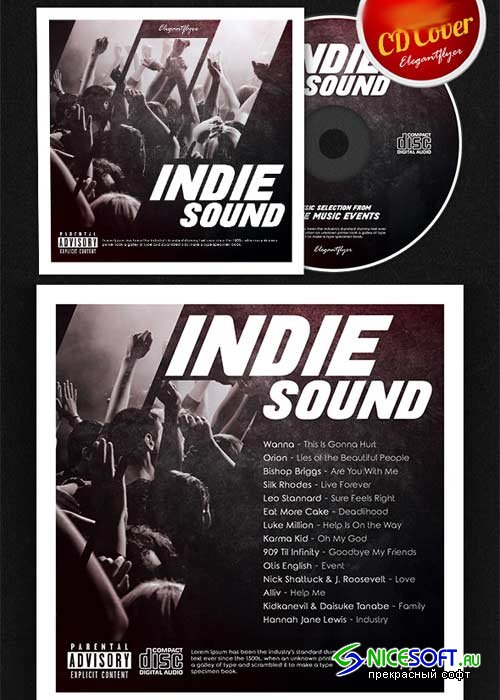 Indie Sound CD Cover PSD Template