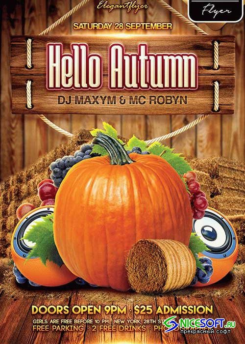 Hello Autumn Party Flyer PSD V3 Template + Facebook Cover