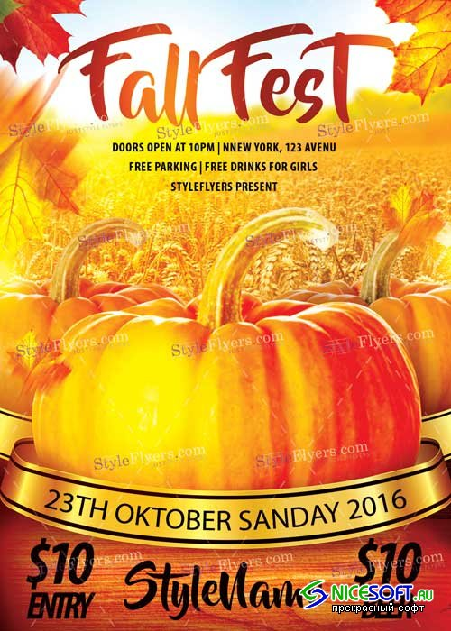 Fall Fest V1 PSD Flyer Template