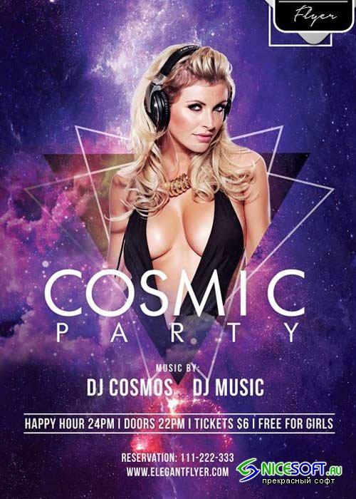 Cosmic Party Flyer PSD V7 Template + Facebook Cover