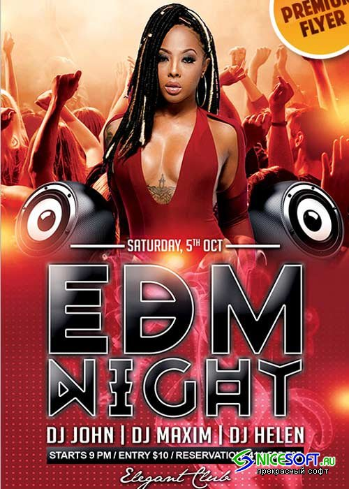EDM Night Flyer PSD V5 Template + Facebook Cover