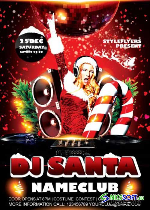 Dj Santa V4 PSD Flyer Template with Facebook Cover