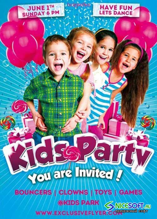 Kids Party V5 Premium Flyer Template