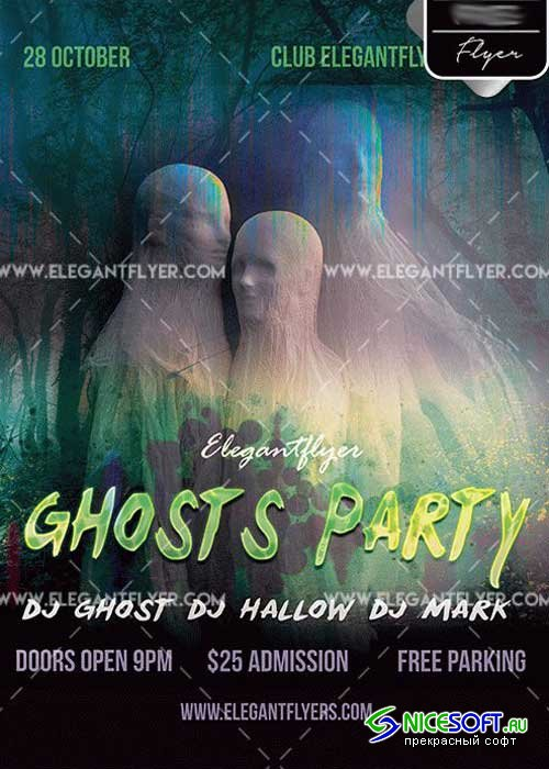 Ghosts Party V5 PSD Template + Facebook cover
