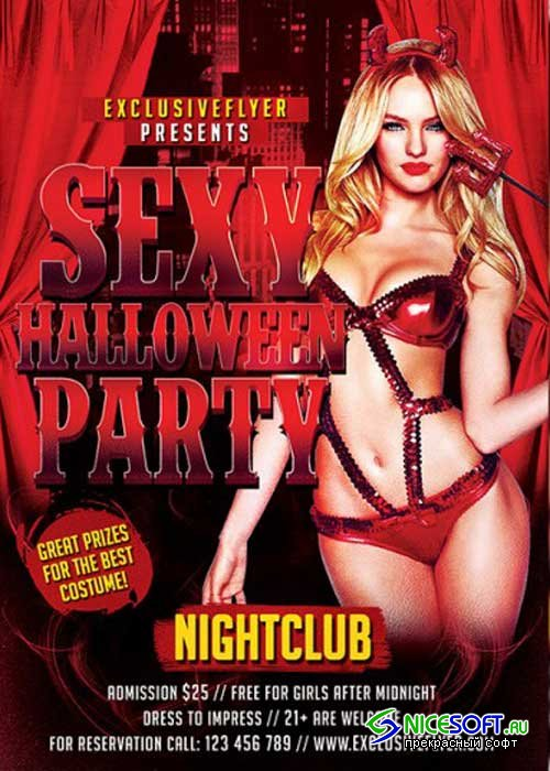 Sexy Halloween Party V2 Premium Flyer Template + Facebook Cover