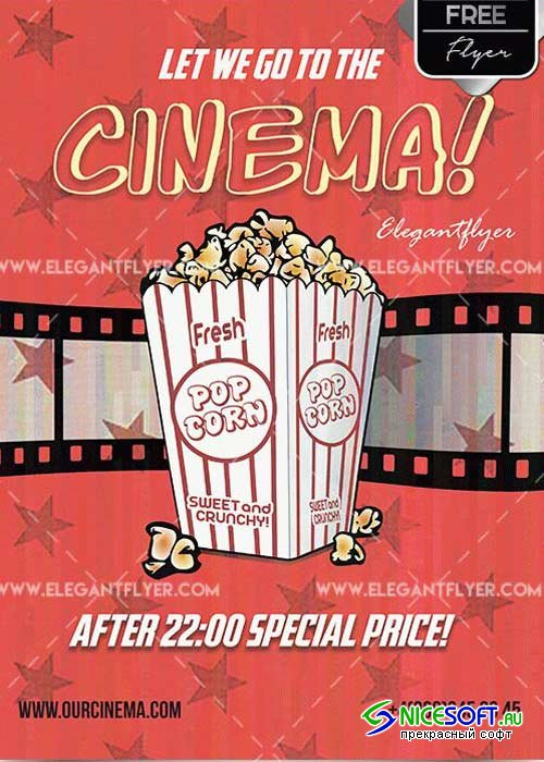 Cinema Time V5 Flyer PSD Template + Facebook cover