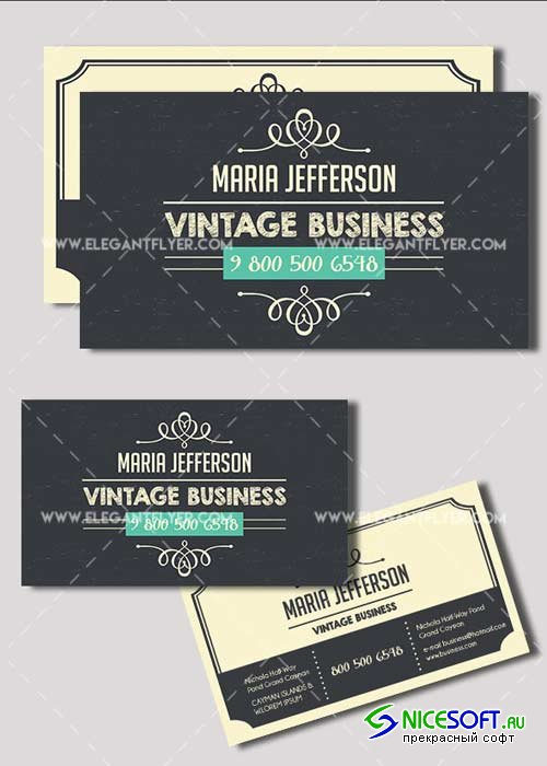 Vintage V1 Premium Business card PSD Template