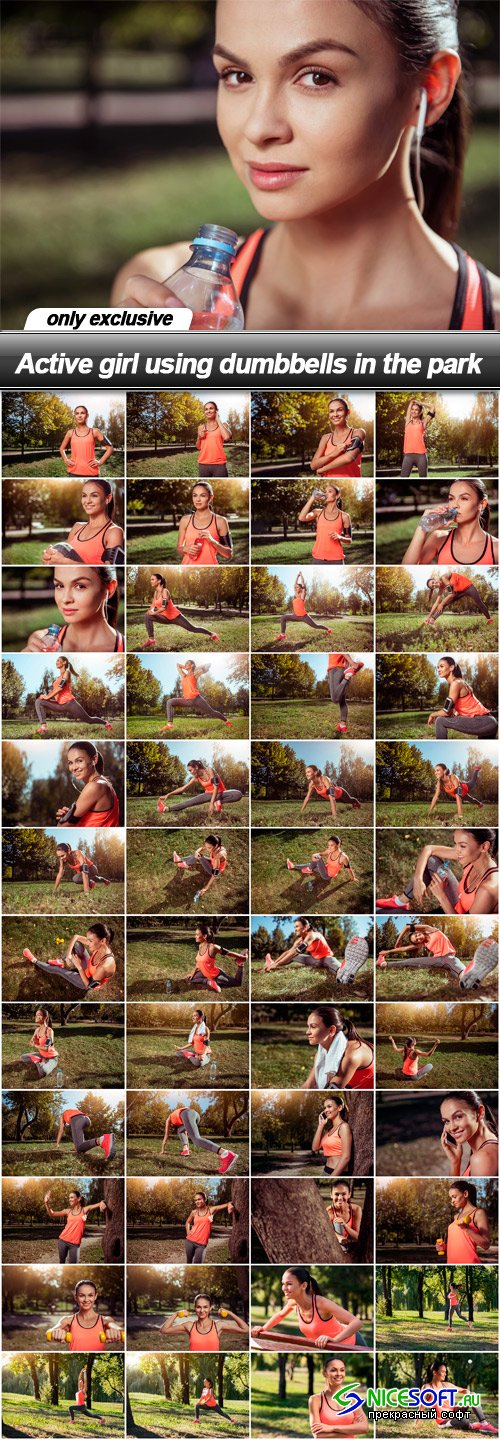 Active girl using dumbbells in the park