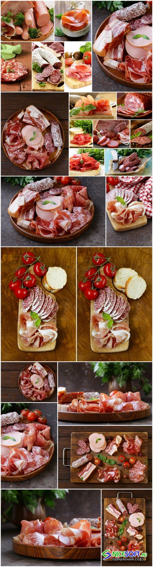 Assorted deli meats - ham, sausage, salami, parma, prosciutto, bacon - 14xUHQ JPEG Photo Stock