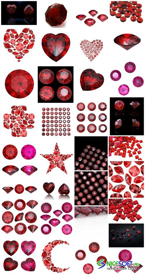 Rubies and garnets - gemstones, 33xUHQ JPEG Photo Stock