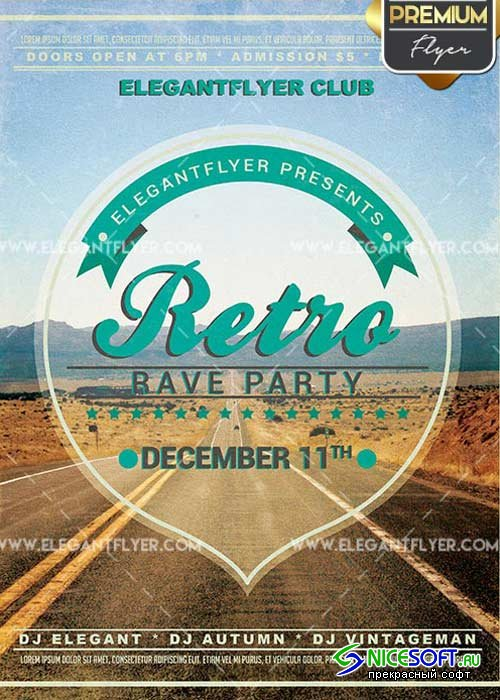Retro Rave Party Flyer PSD V1 Template + Facebook Cover