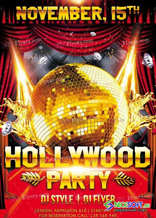 Hollywood Party PSD V8 Flyer Template