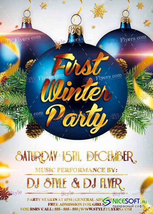 First Winter Party PSD V8 Flyer Template