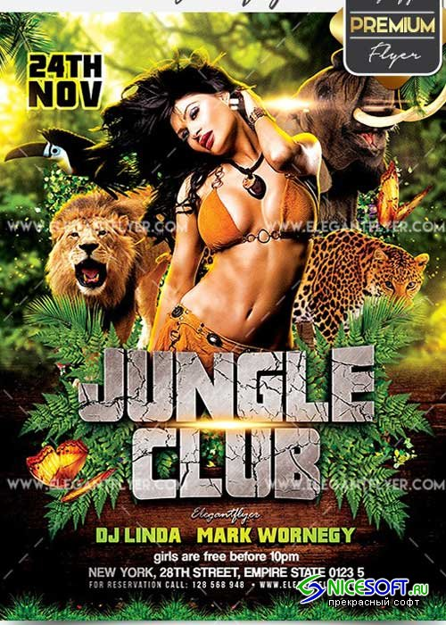 Jungle Club Flyer PSD V5 Template + Facebook Cover
