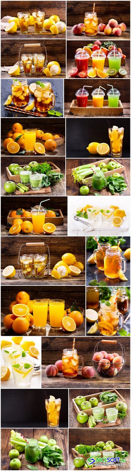 Fresh juices with fruits and vegetables - 22xUHQ JPEG Photo Stock