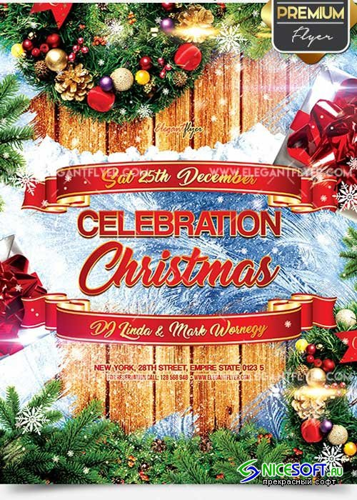 Celebration Christmas Flyer PSD V14 Template + Facebook Cover