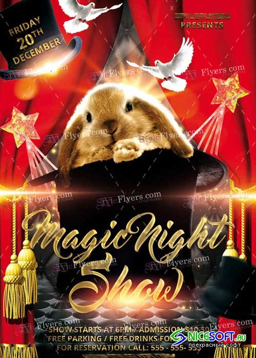 Magic Night Show PSD V12 Flyer Template