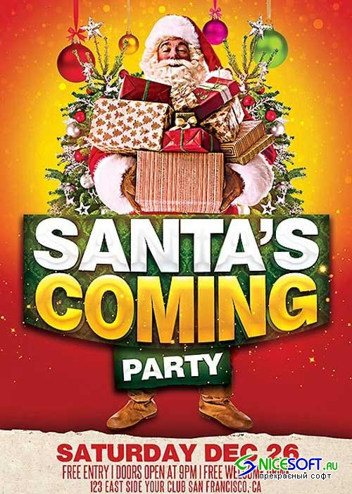 Santa's Coming Party PSD V2 Flyer Template