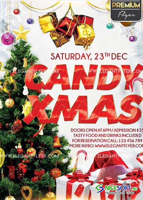 Candy Christmas Flyer PSD V5 Template + Facebook Cover
