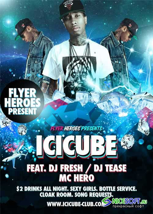 Icy Cube Hip Hop V5 Flyer Template