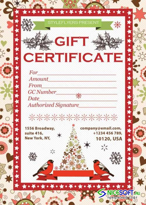 Gift Certificate PSD V2 Flyer Template with Facebook Cover
