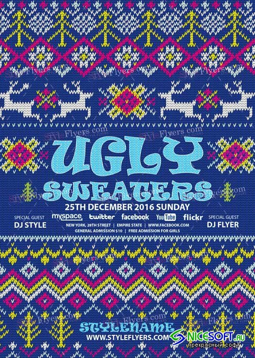 Ugly Sweaters PSD V12 Flyer Template