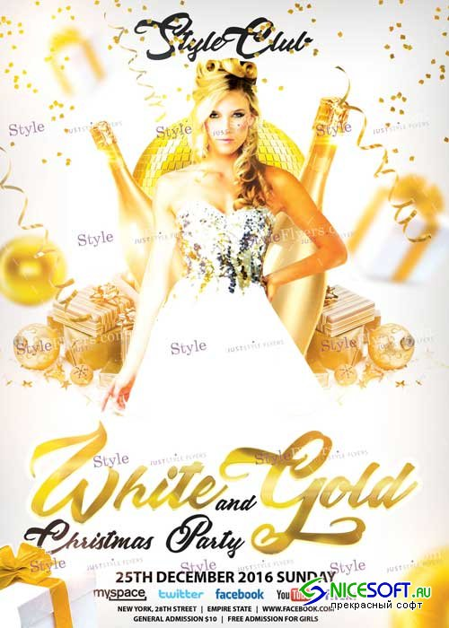 White and Gold Christma Party PSD V2 Flyer Template