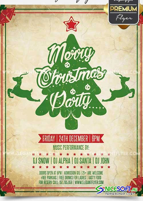 Merry Christmas Party Flyer PSD V14 Template + Facebook Cover