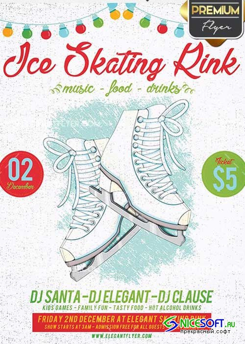 Ice Skating Rink Flyer PSD V2 Template + Facebook Cover