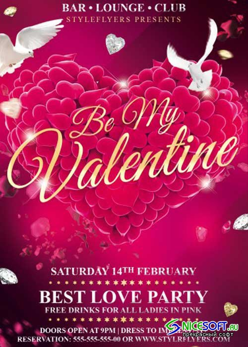 Be My Valentine Party PSD V5 Flyer Template with Facebook Cover