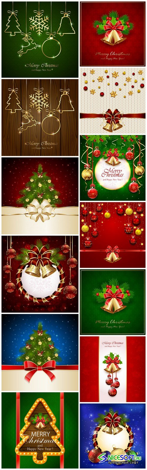 New Year 2017 & Christmas Design 16 - 13xEPS Vector Stock