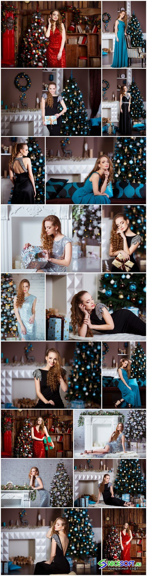 Young woman in elegant dress over christmas interior background - 18xUHQ JPEG